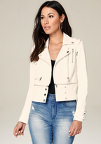 Bebe Zip Shoulder Moto Jacket