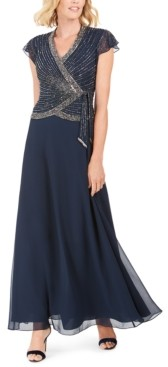 J Kara Embellished Side-Tie Gown