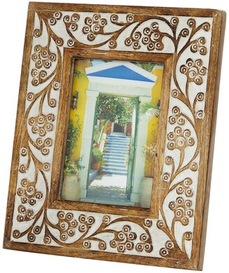 """Willow Row Rectangular Carved Wood Antique Floral Picture Frame with Whitewash Finish - 9""""x 11"""