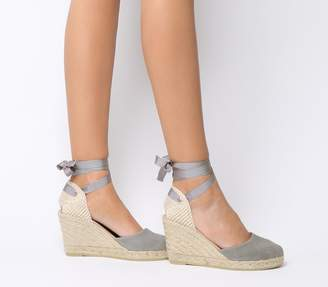 Gaimo For Office for OFFICE Ankle Wrap Espadrille Wedges Grey