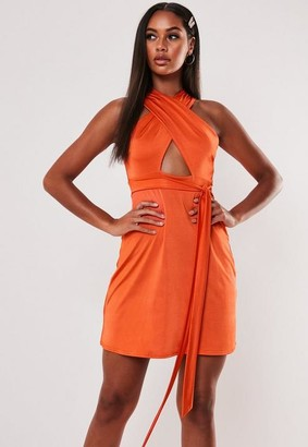 Missguided Slinky Wrap Front Skater Dress
