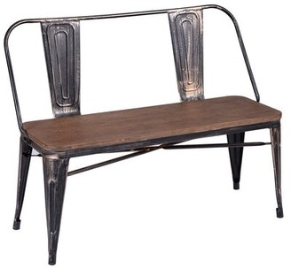 Williston Forge Dining Table Bench With Wooden Seat Panel And Metal Backrest & Legs Williston Forge