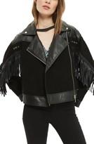 Topshop Women's Lomax Embellished Leather Biker Jacket