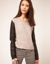 American Retro Cropped Jersey Top With Faux Leather Sleeves