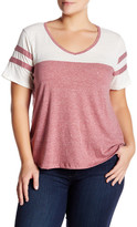 Hip Striped V-Neck Ringer Tee (Plus Size)