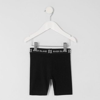 River Island Mini girls Black RI cycling shorts