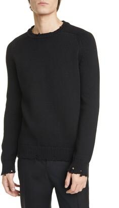 Saint Laurent Distressed Crewneck Sweater