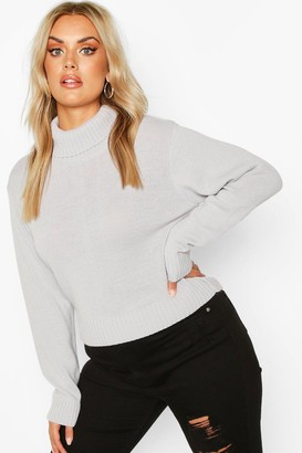 boohoo Plus Roll Neck Crop Sweater