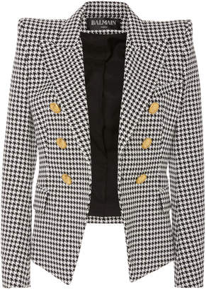 Balmain Houndstooth Cotton-Blend Double-Breasted Blazer
