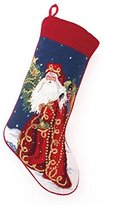 Lynn Haney Victorian Style Santa Claus with Toy Soldier Christmas Stocking, Wool, Needlepoint, 11 X 18 Inch