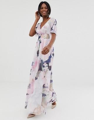 Little Mistress kimono sleeve printed maxi dress-Multi