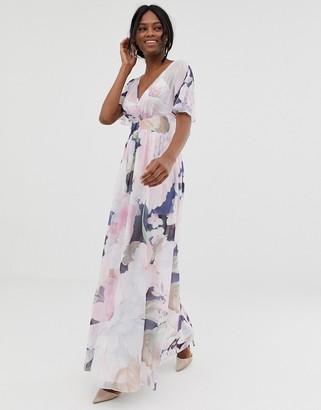 Little Mistress kimono sleeve printed maxi dress