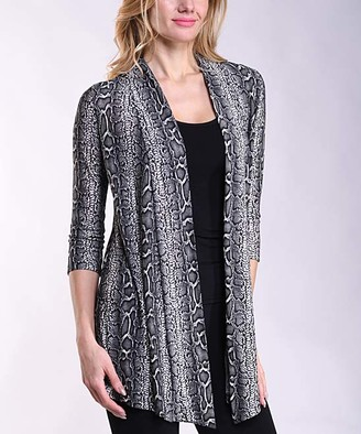 Lbisse Women's Open Cardigans Black - Black & Gray Snake Print Three-Quarter Sleeve Open Cardigan - Women