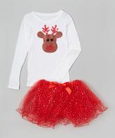 Beary Basics White & Red Reindeer Tee & Tutu - Toddler & Girls