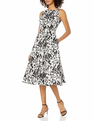 Adrianna Papell Women's Sleeveless Mikado Printed Party Dress