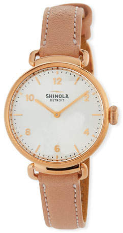 Shinola 32mm The Canfield Leather Watch