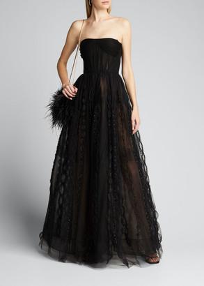 J. Mendel Beaded-Tulle Strapless Gown w/ Bolero Jacket