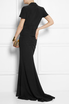 Alexander McQueen Ruched-back crepe maxi skirt