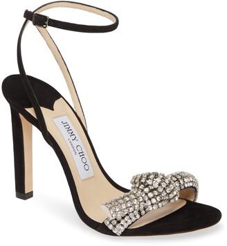 Jimmy Choo Thyra Crystal Knot Ankle Strap Sandal