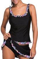 Eternatastic Women's Tankini Swimwear Two Pieces Swimsuit Set Fancy Lace Trimmed L