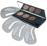 DE'LANCI 4 Colors Eyebrow Cake Powder Makeup Palette Set Eye Brow Shading Kit with Make Up Brush 4Pcs Stencils (4 Color)