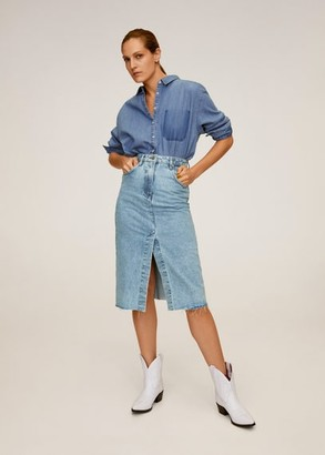 MANGO Midi denim skirt medium blue - L - Women