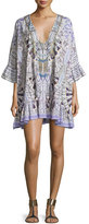 Camilla Embellished Tie-Front Bell-Sleeve Coverup Dress, Singing Wells