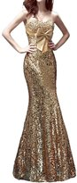 Audrey Bride Shining Mermaid Gowns Long Evening Dresses Swquins for Woman- US