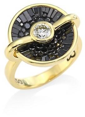 Plevé Opus Black Diamond & 18K Yellow Gold Round Ring