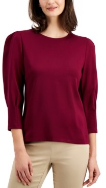 Charter Club Pleated-Sleeve Top, Created for Macy's