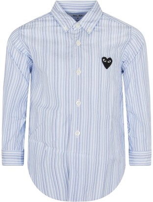 Comme des Garcons Striped Shirt For Kids With Iconic Logo