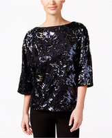 MSK Boat-Neck Sequined Evening Top