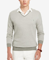 Polo Ralph Lauren Men's V Neck Pima Herringbone Sweater
