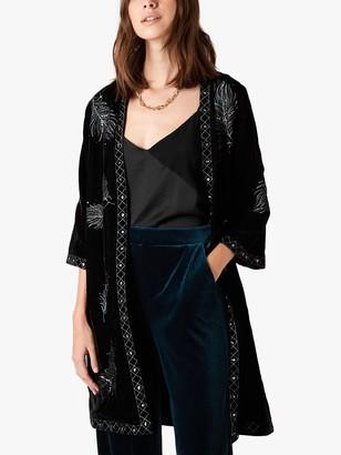 Monsoon Violetta Floral Embellished Jacket, Black