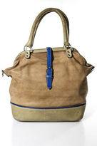 Fleabag Beige Tan Oiled Suede Blue Strap Accented Crossbody Bag