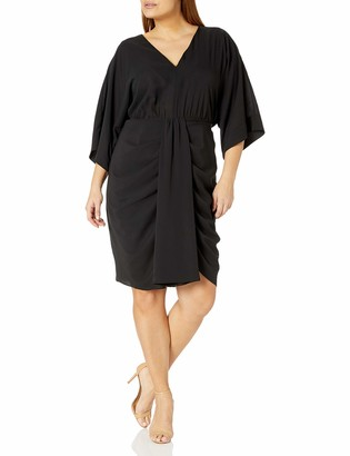 City Chic Women's Apparel Women's Plus Size V-Neck Dress with Front Pleat