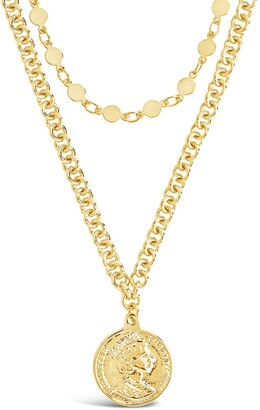 Sterling Forever 14K Gold Plated Coin Layered Necklace