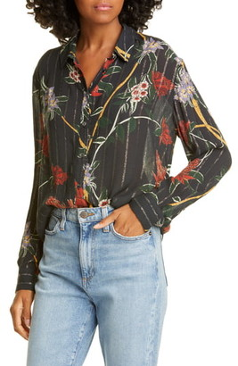 BA&SH Petunia Floral Metallic Stripe Shirt