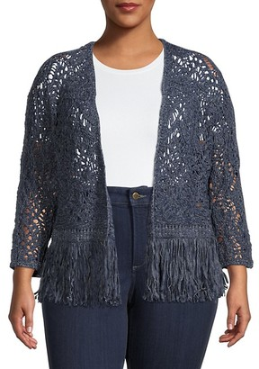 Nic+Zoe Plus Crocheted Cotton-Blend Cardigan