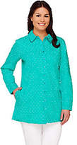 Denim & Co. As Is Woven Polka Dot Button Front Tunic