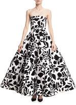 Oscar de la Renta Embroidered Strapless Tea-Length Cocktail Dress