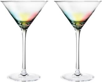 Jewelchic II Set of 2 Martini Glasses Rainbow