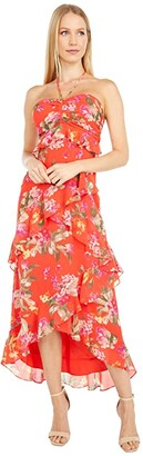 WAYF Zander Tiered Halter Midi Dress (Passion Floral) Women's Dress