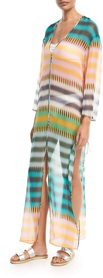 Diane von Furstenberg Striped Floor-Length Silk Dress, Yellow Green Orange Multi