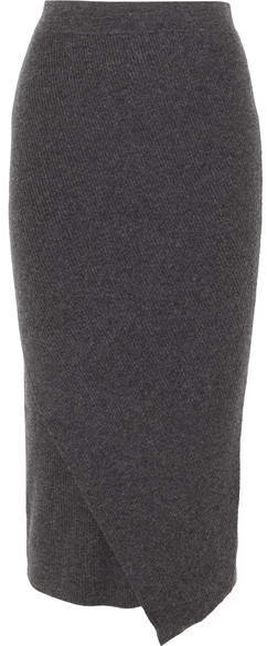 Allude Wrap-effect Ribbed Wool And Cashmere-blend Midi Skirt - Gray
