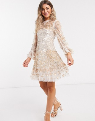 Needle & Thread rose gold embellished mini dress in champagne