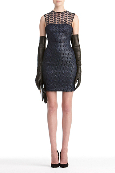 Diane von Furstenberg Kinchu Lace Dress In Navy