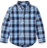 Ralph Lauren Poplin Plaid Button-Down Shirt, Blue, Size 2-4