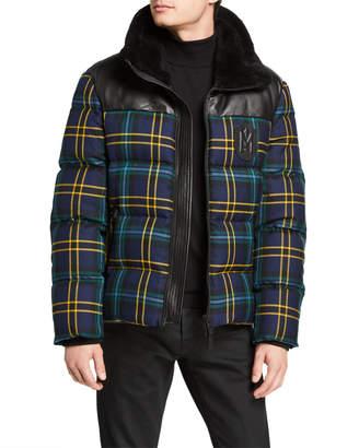 Mackage Men's Tartan Wool/Lamb Leather Down Jacket