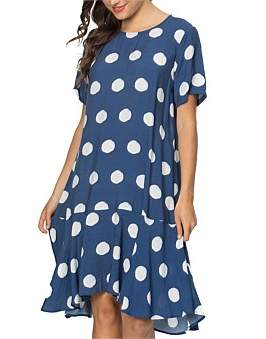 Clarity by threadz Spot Print Flounce Hem Dress